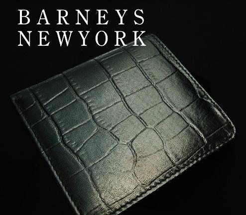 919新品★バーニーズ ニューヨーク BARNEYS NEWYORK★本革デザイン2折財布★ブラック★