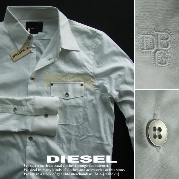5042新品★ディーゼル DIESEL★Black Goldデザインドレスシャツ★ホワイト★50★MENS★