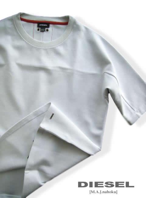 7051-6新品★ディーゼル DIESEL★裾ロゴプレートデザインTシャツ2923★白★MENS★