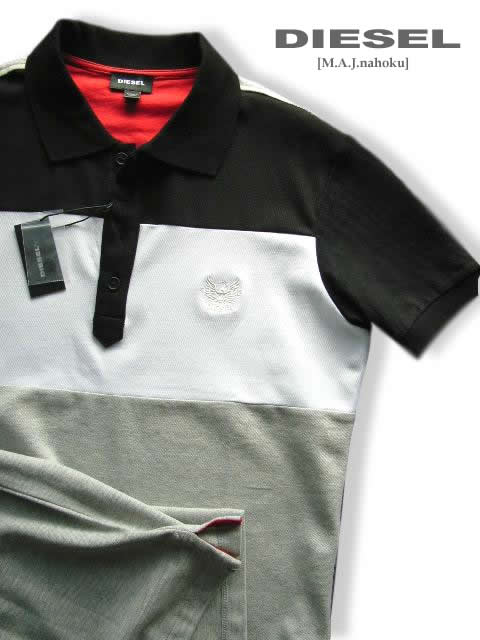 7430-4新品★ディーゼル DIESEL★デザイン胸ロゴポロシャツ3005★黒白グレー★MENS★