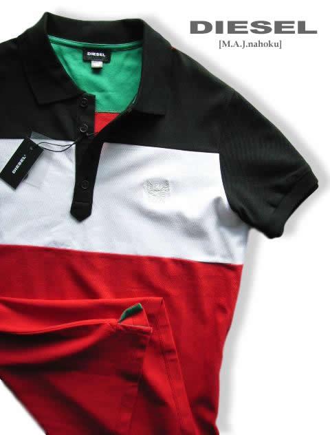 7438-43新品★ディーゼル DIESEL★デザイン胸ロゴポロシャツ3006★黒白赤★MENS★