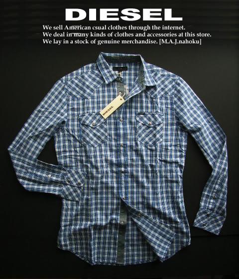 5017-20新品★ディーゼル DIESEL★デザインチェックシャツ2404★青系★MENS★