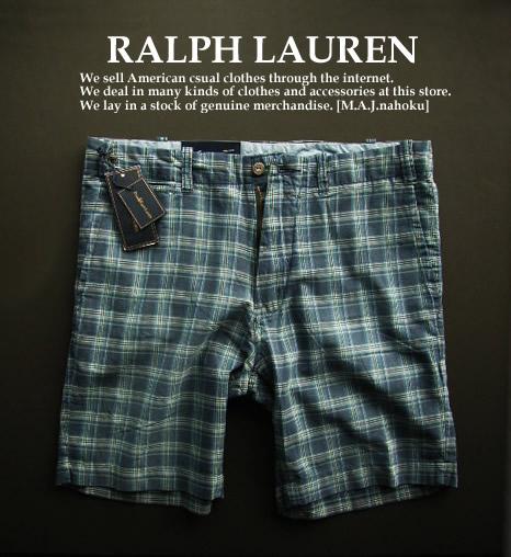 1346新品★ラルフローレン RALPH LAUREN ★ヴィンテージチェック短パン★紺系★34★MENS