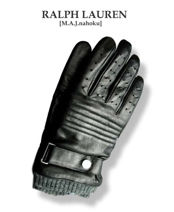 1468新品★ラルフローレン RALPH LAUREN★本革デザイン手袋H101★黒★M(24cm)★MENS
