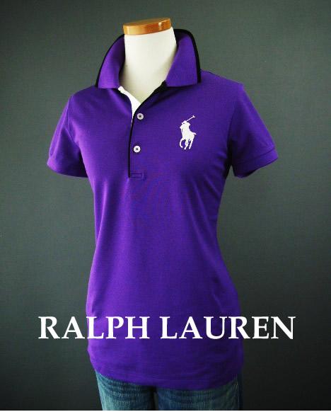 1438-9新品★ラルフローレン RALPH LAUREN★GOLFロゴBIGポロシャツF103★紫★WOMENS