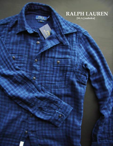 1498-500新品★ラルフローレン RALPH LAUREN★ダブルガーゼ地チェックシャツf104★紺青★MENS★