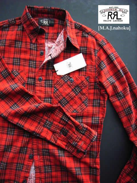 1502-3新品★ラルフローレン RALPH LAUREN★RRLダブルアールエルチェックシャツf105★赤系★MENS★