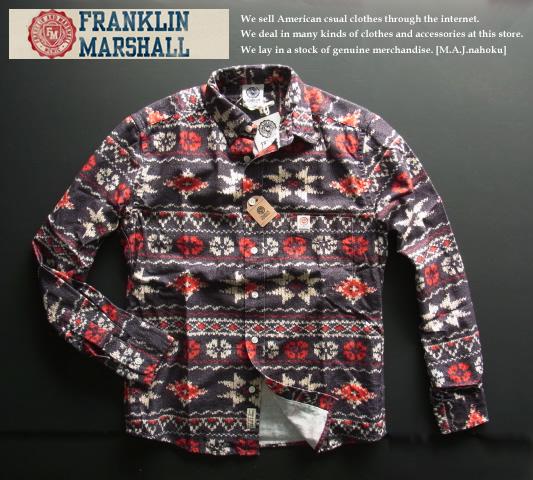 70-2新品★フランクリン&マーシャル Franklin & Marshallデザインシャツ3019 ITALY製★グレー系★MENS★