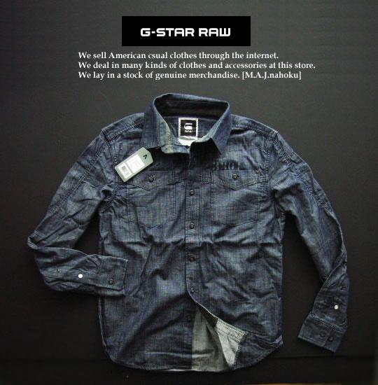 4281新品★ジースター G-STAR RAW★デザインシャツ2302★紺系★M★MENS★
