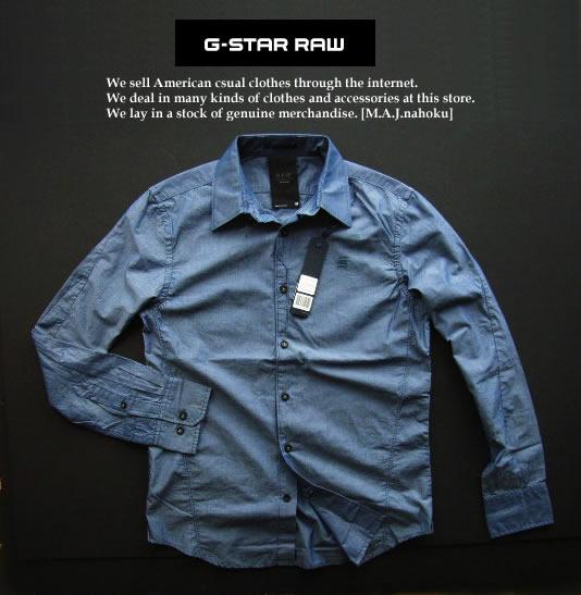 4329新品★ジースター G-STAR RAW★デザイン麻リネンシャツ2335★紺系★M★MENS★
