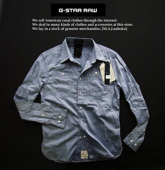 4354新品★ジースター G-STAR RAW★デザインシャツ2348★紺系★M★MENS★