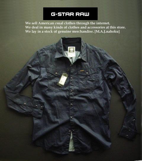 5668新品★ジースター G-STAR RAW★デザインシャツ2516★紺系★XL★MENS★