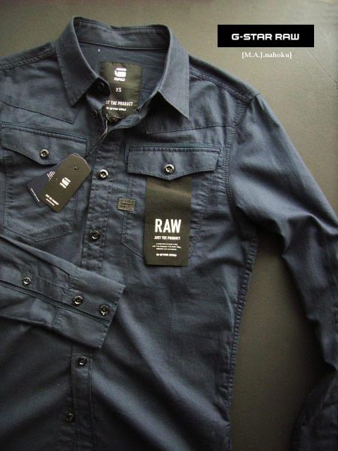 7060-1新品★ジースター G-STAR RAW★デザインシャツ2901★紺★MENS★