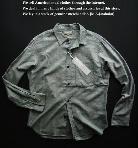 470新品★マーガレットハウエル MARGARET HOWELL★カシミヤ混デザインシャツD105★グレー★L★MENS★