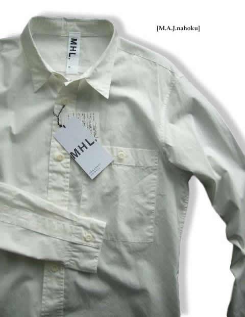 645-6新品★マーガレットハウエル MARGARET HOWELL★デザインシャツE102★白★S★MENS★