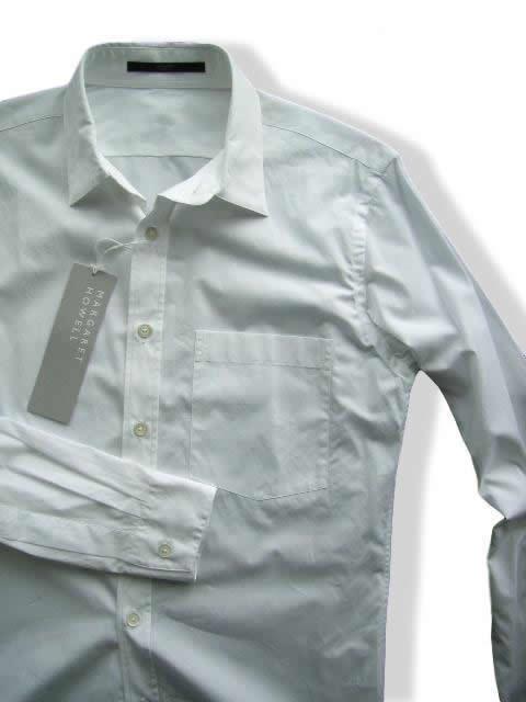 647-52新品★マーガレットハウエル MARGARET HOWELL★デザインシャツE103★白★MENS★