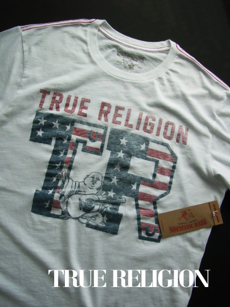 6644-6新品★トゥルーレリジョン TRUE RELIGION★ヴィンテージロゴTシャツ2601★白★MENS