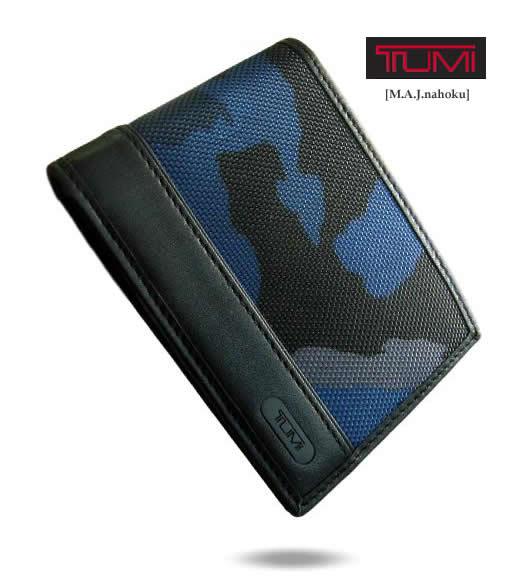 6951新品★トゥミ TUMI★デザイン2折財布迷彩★青黒★MENS
