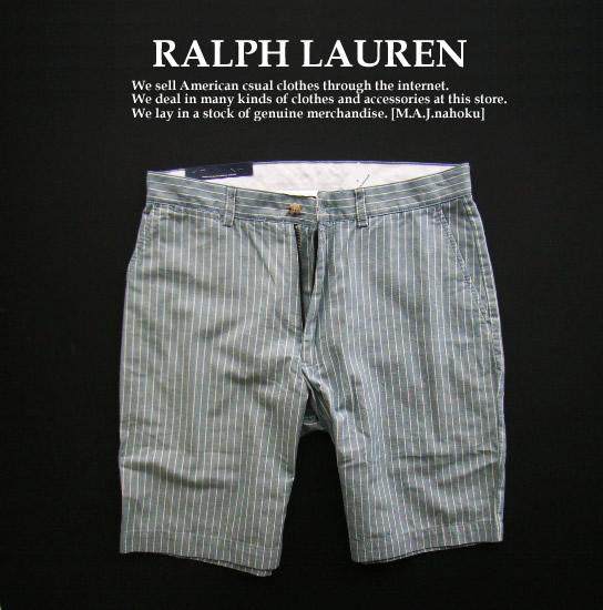 2527新品★ラルフローレン RALPH LAUREN★ストライプ短パン★青系★31★MENS★