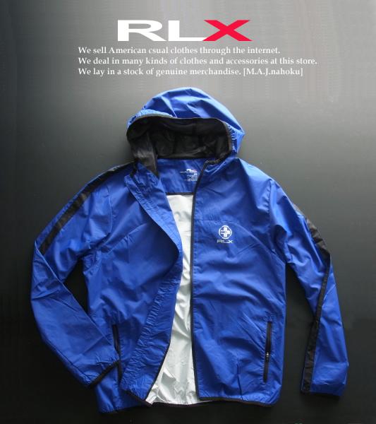 2731-2新品★ラルフローレン RALPH LAUREN★RLX デザインナイロンジップフードジャケット★青★MENS★