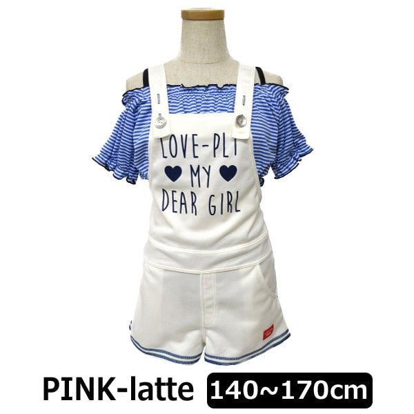 d081c399265 PINK-latte サロペット 水着 3点セット SS140cm S150cm M160cm L170cm ホワイト 33850525