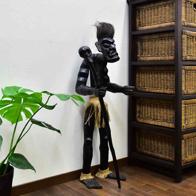 ドクロの杖を持つイリアンジャヤ原人 高さ100Cm 【バリ島直輸入 バリ雑貨 アジアン雑貨 イリヤ人形 インドネシア】