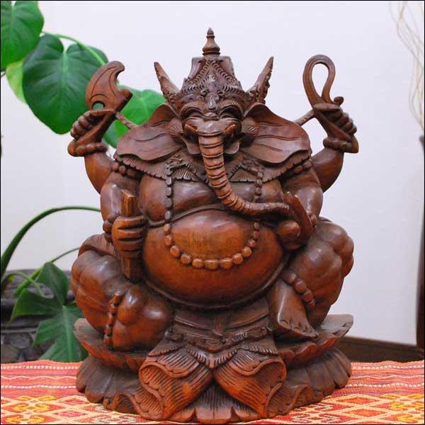 木彫りのガネーシャの置物 高さ 30cm 高級材使用 【バリ島直輸入 アジアン雑貨 バリ雑貨 オブジェ】