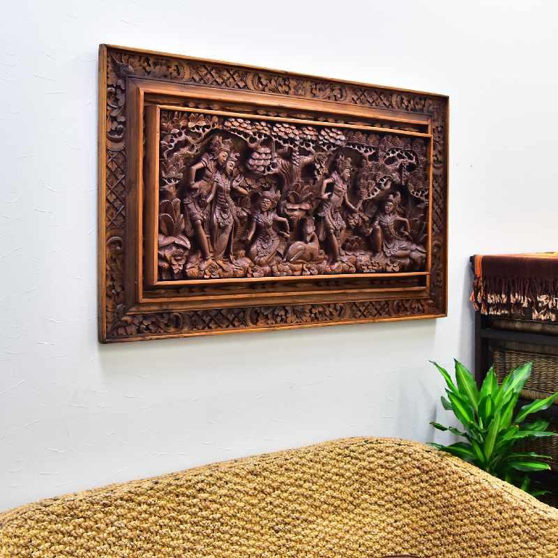 ウッドレリーフ ラーマヤナモチーフ 126XH75Cm 【バリ島直輸入 アジアン雑貨 バリ雑貨 木彫り 壁掛け 彫刻 インドネシア 透かし彫り】