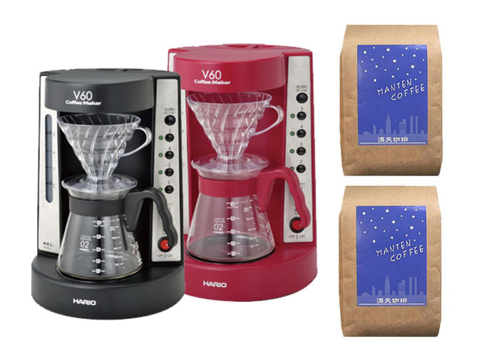 HARIO V60 coffee maker EVCM-5 (for 2 to 5 teaspoons) and with two different types of coffee beans