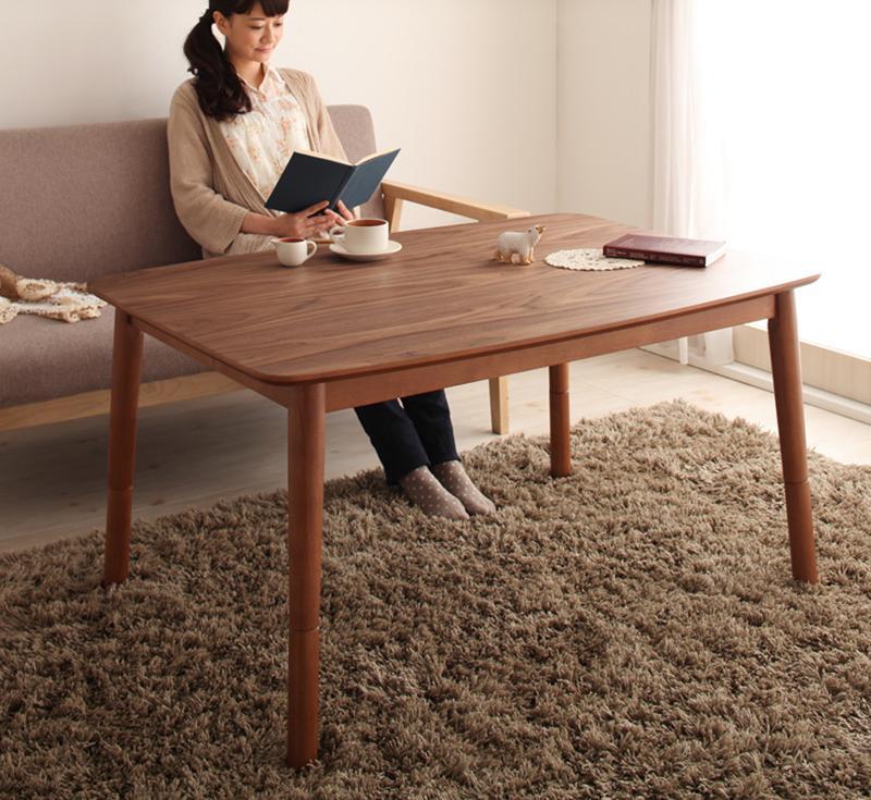 【送料無料】高さ調整 こたつテーブル 4段階で高さが変えられる 天然木ウォールナット材使用 「Nolan ノーラン 」 長方形 (75×105cm) *布団は含まれません。 ローテーブル おしゃれ オールシーズン 木目