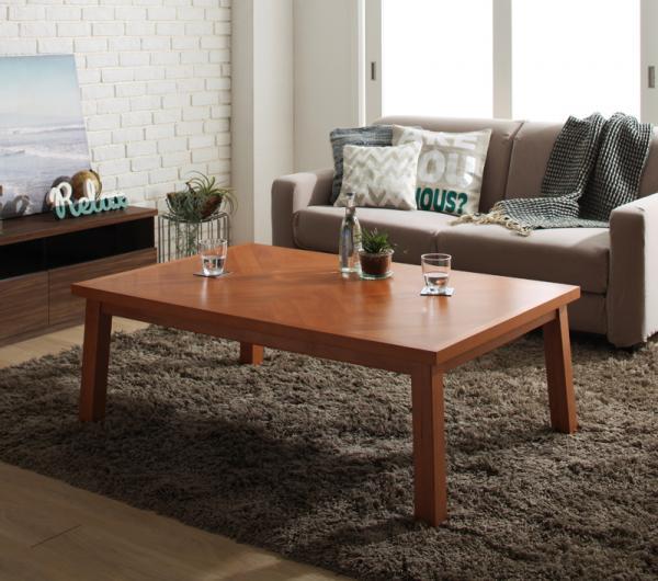 【送料無料】こたつテーブル 長方形 80x120cm 天然木アルダー材ヘリンボーン柄 「Harriet(ハリエット)」 *布団は別売 オールシーズン 木目 シック 重厚感