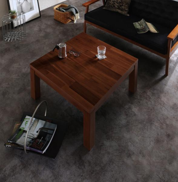 【送料無料】こたつテーブル 正方形 75x75cm 天然木モザイク調デザイン天板 継脚(2段階高さ調節) 「Vestrum(ウェストルム)」 *布団は別売 オールシーズン 木目 シック 重厚感 【 キャッシュレス還元 対象店】