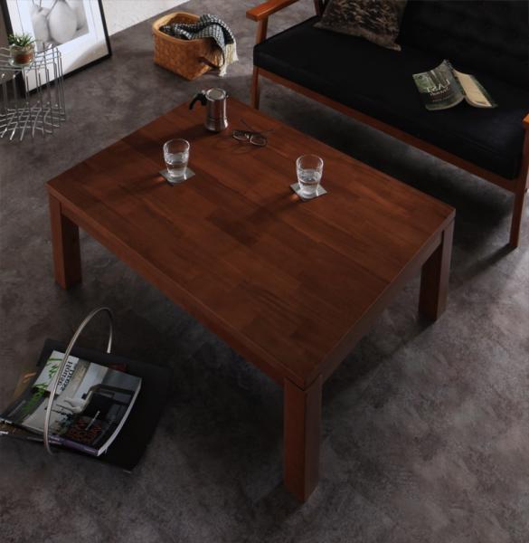 【送料無料】こたつテーブル 長方形 105x75cm 天然木モザイク調デザイン天板 継脚(2段階高さ調節) 「Vestrum(ウェストルム)」 *布団は別売 オールシーズン 木目 シック 重厚感