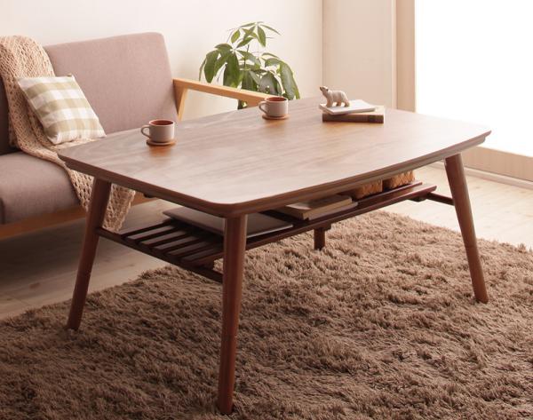 【送料無料】こたつテーブル 棚付き 4段階高さ調整 「Kielce (キェルツェ)」テーブル単品 80x120cm 長方形 *布団は別売 オールシーズン ローテーブル 木目 シンプル おしゃれ