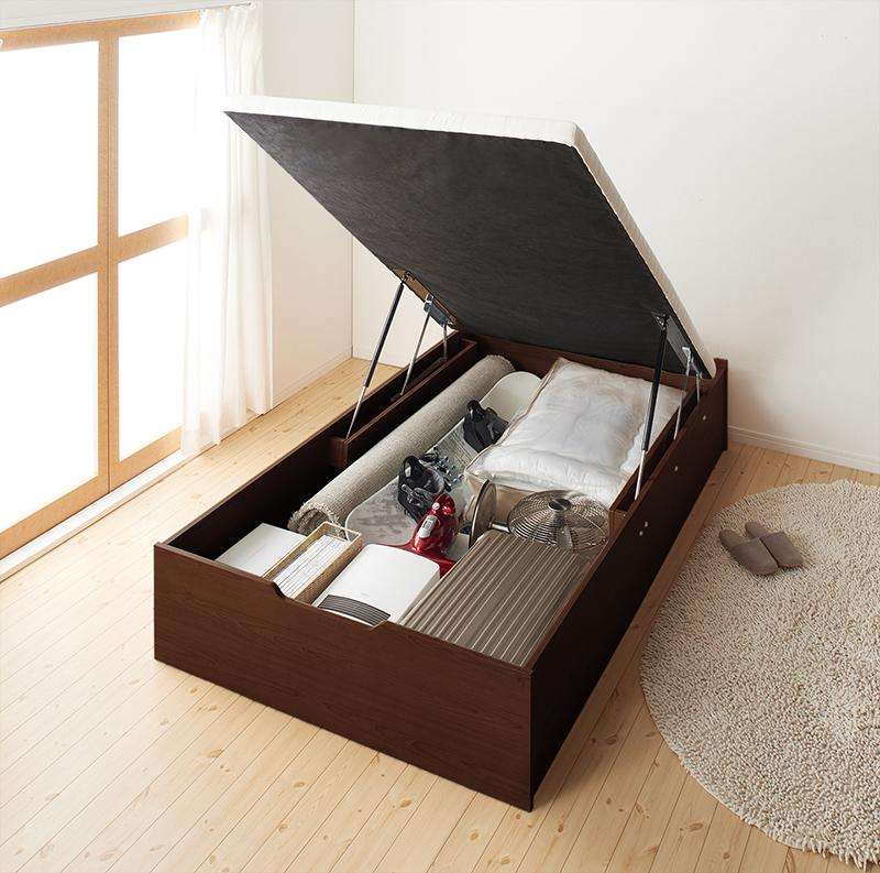 【送料無料】ベッド シングル ラージ ガス圧式大容量 跳ね上げ ベッドフレームのみ 縦開き 通気性抜群「No-Mosノーモス」収納付ベッド 収納ベッド 跳ね上げ はねあげ 跳ね上げ式ベッド 大容量