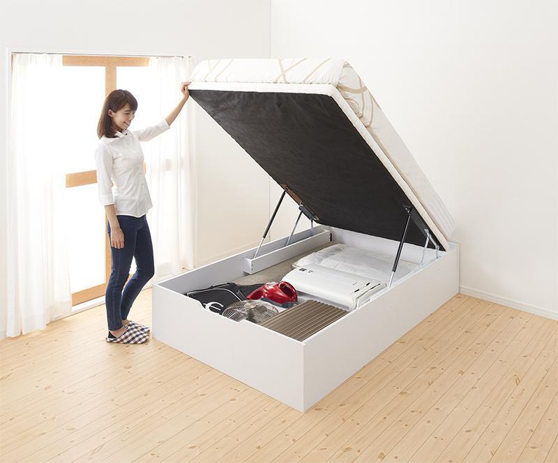 ガス圧式大容量 跳ね上げベッド 薄型ポケットコイルマットレス付き 縦開き セミシングル ラージ 通気性抜群「No-Mosノーモス」収納付ベッド 収納ベッド 跳ね上げ はねあげ 跳ね上げ式ベッド 大容量