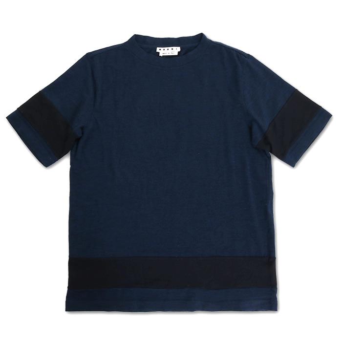 MARNI マルニ メンズ M05 GC0031 S22881 ストレッチ ウール地 クルーネック 半袖Tシャツ カットソー バイカラー カラー524
