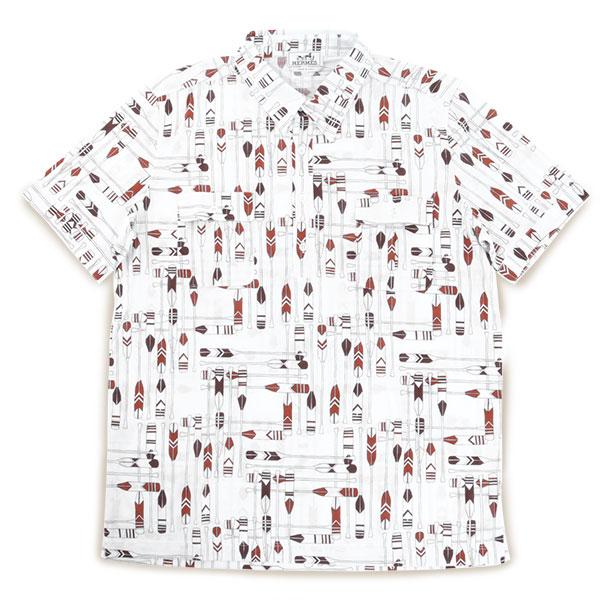 HERMES エルメス 637355HA 半袖 五分袖 柄 シャツ ポロシャツ ストレッチコットン 馬具モチーフ カラーRED/ホワイト×レッド他 メンズ