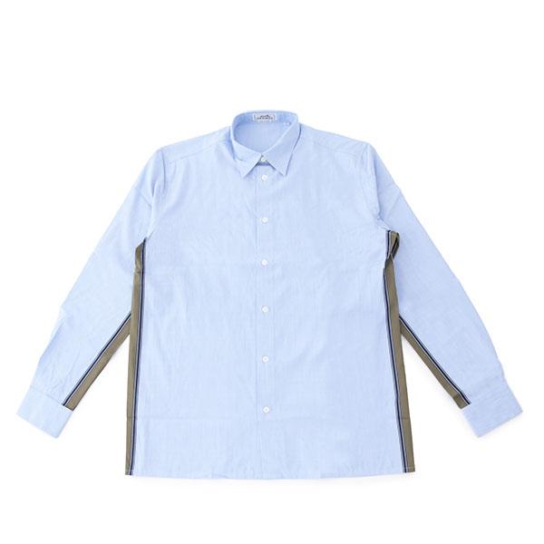 HERMES エルメス 546227HH 長袖 カラー ワイシャツ カッターシャツ Yシャツ ストライプライン レギュラー カラーBLUE/ライトブルー他 0メンズ