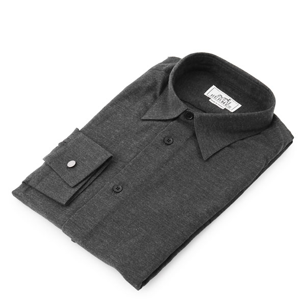 HERMES エルメス 546220MO 長袖 デニム風 カラー ワイシャツ カッターシャツ Yシャツ レギュラー カラー/ダークグレー メンズ