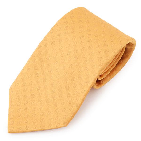 BVLGARI ブルガリ イタリア製 シルク ネクタイ ジャガード 総柄 レジメ カラー/イエローオレンジ メンズ