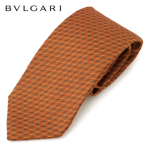 BVLGARI ブルガリ イタリア製 シルク ネクタイ ジャガード 総柄 カラー/オレンジブラウン他 メンズ