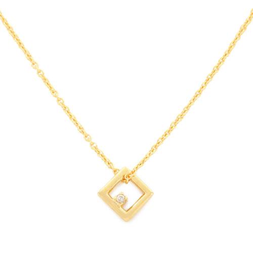 ALIITA アリータ MINI CUADRADO BRILLANTE NECKLACE CHAIN MINI SQUARE DIAMOND クリスタル ストーン スクエア ネックレス ペンダント アクセサリー カラー9KT-YELLOWGOLD/イエローゴールド×ダイヤモンド