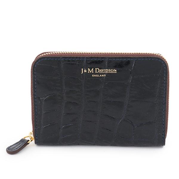 J&M DAVIDSON ジェイアンドエムデヴィッドソン 5259 7267 SMALL ZIP PURSE クロコダイル 型押し パテントレザー カードケース 名刺入れ ラウンドファスナー ミニ財布 豆財布 カラー3900/NEWNAVY