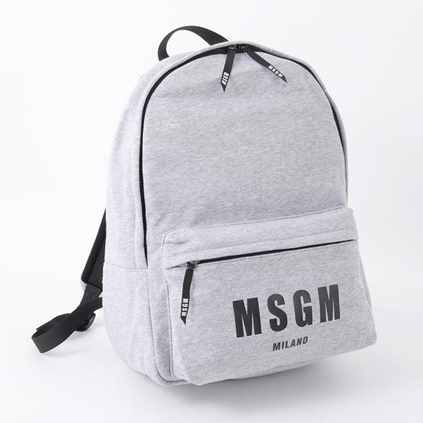 MSGM エムエスジーエム 2540MZ02 030 コットン バックパック リュック バッグ デイパック ロゴプリント スウェット カラー/グレー メンズ
