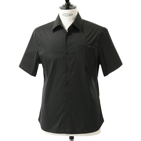 PRADA プラダ UCS137 1LU8 F0002 半袖 カジュアルシャツ カッターシャツ カラーNERO メンズ