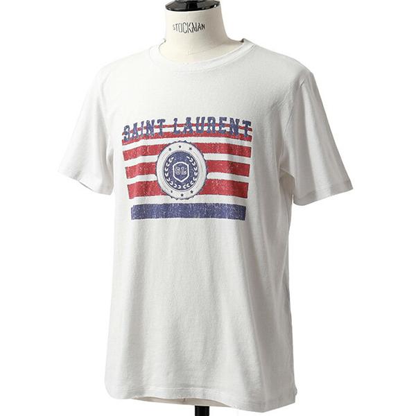 SAINT LAURENT PARIS サンローランパリ 529672 YB2UH クルーネック 半袖 Tシャツ カットソー 丸首 ダメージ加工 カラー9730 メンズ