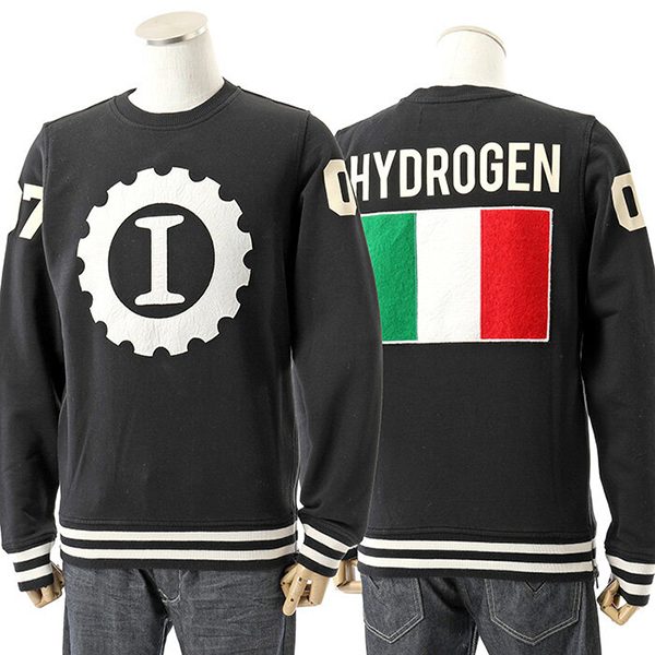 HYDROGEN ハイドロゲン LG0001 GARAGE ITALIA CUSTOMS BIG LOGO クルーネック 長袖 スウェット トレーナー カラー007/BLACK