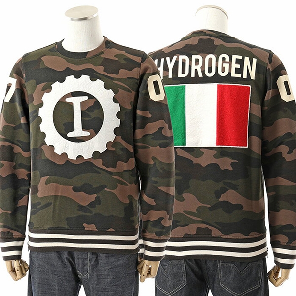 HYDROGEN ハイドロゲン LG0001 GARAGE ITALIA CUSTOMS BIG LOGO 長袖 スウェット トレーナー 迷彩柄 カモフラ カラー060/CAMOUFLAGE