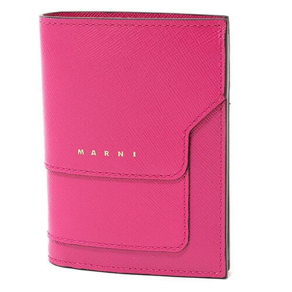 MARNI マルニ PFMOQ14U07 LV520 レザー 二つ折り財布 ミニ財布 スモール 豆財布 カラーZ046M/CASSIS レディース